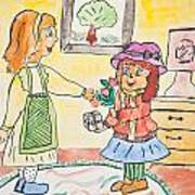 Child Drawing Of Mother Giving Gift To Daughter Art Print