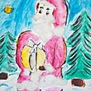 Child's Drawing Of Santa Claus With Watercolors Art Print