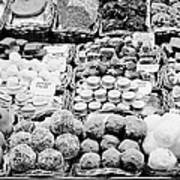 chocolates on display inside the la boqueria market in Barcelona Catalonia Spain Art Print