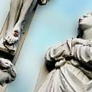 Christ On The Cross With Mourners Saint Joseph Cemetery Evansville Indiana 2008 Art Print by John Hanou