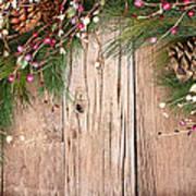 Christmas Berries On Wooden Background Art Print