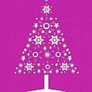 Christmas Tree Made Of Snowflakes On Pink Background Art Print