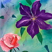 Clematis And The Rose Art Print