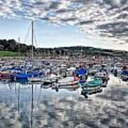 Cloudy Morning - Lyme Regis Harbour Art Print