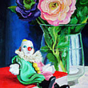 Clown Book And Flowers Art Print