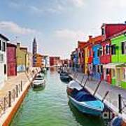Colorful Houses And Canal On Burano Island Near Venice Italy Art Print