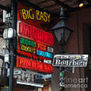 Colorful Neon Sign On Bourbon Street Corner French Quarter New Orleans Poster Edges Digital Art Art Print