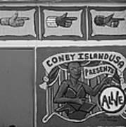 Coney Island Alive In Black And White Art Print