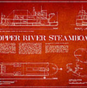 Copper River Steamboats Blueprint Art Print by Aged Pixel