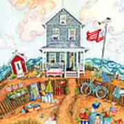 Corgie Street Cottage Art Print