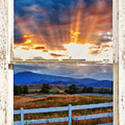 Country Beams Of Light Barn Picture Window Portrait View  Art Print