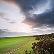Countryside Landscape Path Leading Through Fields Towards Dramat Art Print