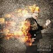 Crazy Businessman Running Engulfed In Fire. Late Art Print