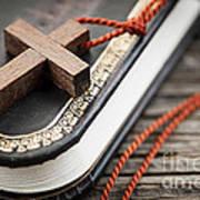 Cross On Bible Art Print by Elena Elisseeva