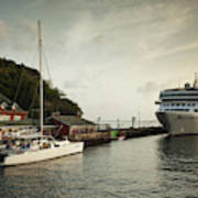 Cruise Ship At Port, Kingstown, Saint Art Print