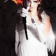 Cupid Angel Of Romance Setting Hearts On Fire Art Print