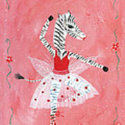 Custom Child's Zebra Ballerina Art Print by Kristi L Randall