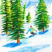 David Skiing The Trees  Art Print