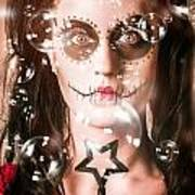 Day Of The Dead Girl Blowing Party Bubbles Art Print