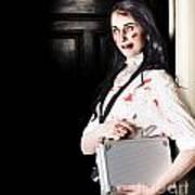 Dead Female Zombie Worker Holding Briefcase Art Print