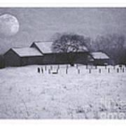 December Moonrise Farmstead Art Print