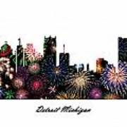 Detroit Michigan Fireworks Skyline Art Print