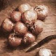 Digital Painting Of Brown Onions On Kitchen Table Art Print