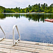 Dock On Calm Lake In Cottage Country Art Print