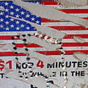 1 Dollar For Four Minutes Sign Telephone American Flag Eloy Arizona 2005 Art Print