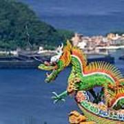 Dragon Sculpture On Roof Art Print