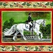Dressage Horse Christmas Card Art Print