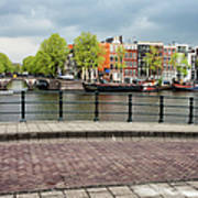 Dutch Houses By The Amstel River In Amsterdam Art Print