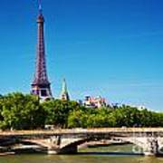 Eiffel Tower And Bridge On Seine River In Paris France Art Print