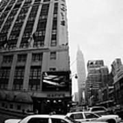 Empire State Building Shrouded In Mist As Yellow Cabs Crossing Crosswalk On 7th Ave And 34th Street Art Print
