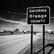 Entering Orange County On The Us 192 Highway Near Orlando Florida Usa Art Print