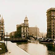 Erie Canal On Salina Street In Syracuse New York - Circa 1904 Art Print