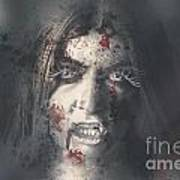 Evil Dead Vampire Woman Looking In Bloody Window Art Print