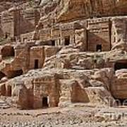 facade street in Nabataean ancient town Petra Art Print by Juergen Ritterbach