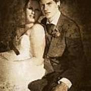 Faded Vintage Wedding Photograph Art Print