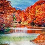 Fall On The Guadalupe Wc Art Print
