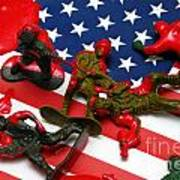 Fallen Toy Soliders On American Flag Art Print