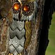 Faux Owl With Golden Eyes Print by Amy Cicconi