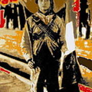 Female Soldier With Mexican Flag  Unknown Location C. 1914-2014 Art Print