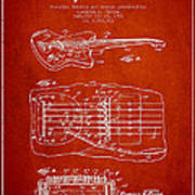 Fender Floating Tremolo Patent Drawing From 1961 - Red Art Print