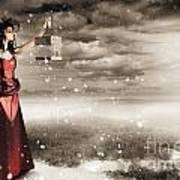 Fine Art Photo Of A Beautiful Winter Fashion Woman Art Print