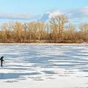 Fisherman On The Frozen River Art Print