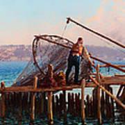 Fishermen Bringing In The Catch Art Print