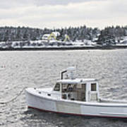 Fishing Boat After Snowstorm In Port Clyde Harbor Maine Art Print