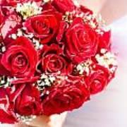 Floral Rose Boquet Held By Bride Art Print