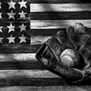 Folk Art American Flag And Baseball Mitt Black And White Art Print